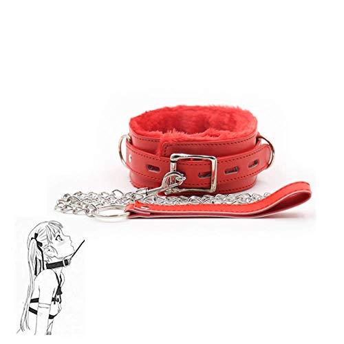 Collar de cuero suave con cuerda de remolque de cadena desmontable (rojo)
