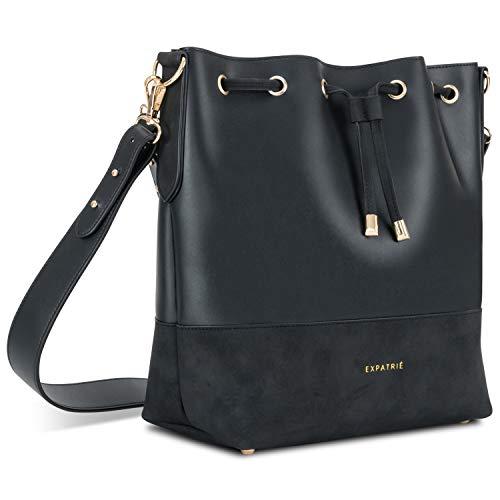 Expatrié Handtasche Damen Schwarz SARAH Bucket Bag Umhängetasche aus veganem PU-Leder für Shopping, Büro, Freizeit - Stylische Crossbody Schultertasche für Frauen
