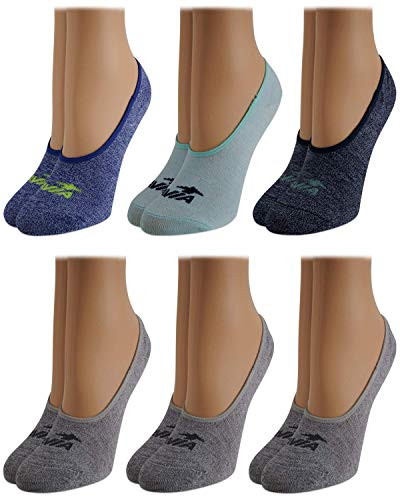 Avia Woman's No Show Athletic Performance Stretch Sport Liner Socks With Non-Slip Grip (6 Pack), Size Shoe Size: 4-10, Navy