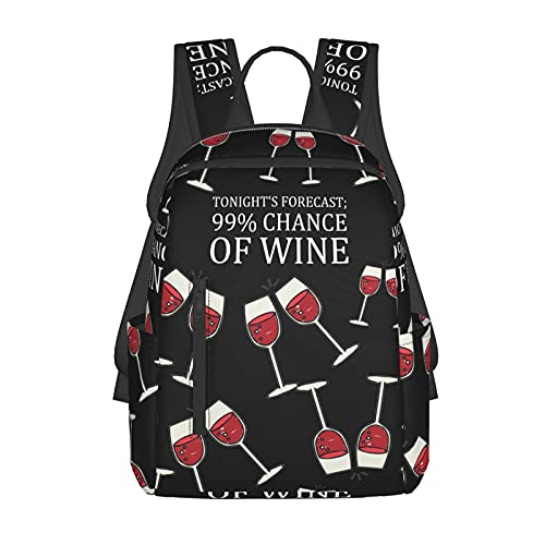NiYoung School Shoulder Book Bags, Large Capacity Rucksacks for Camping Picnic Walking Cycling, Tonight's Forecast, 99% Chance of Wine Camping Outdoor Backpack for Men & Women