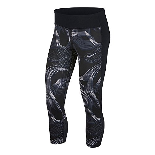 Nike Women's Tight Racer Running Crop Pants (Black, Medium)
