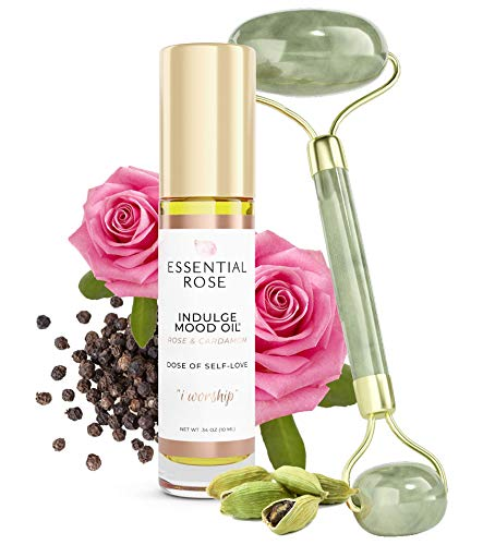 Jade Face Roller and Indulge Mood Essential Oil Roll On | 2 Piece Set | Mood Boosting Pocket-Sized Aromatherapy Natural Perfume For Stress and Anxiety Relief and Anti-Aging Facial Roller Kit for Glowing Skin | Therapeutic Grade Essential Oils, Clean Fragrance, Non-Toxic | Natural, Cruelty Free, Vegan | Rose and Cardamom