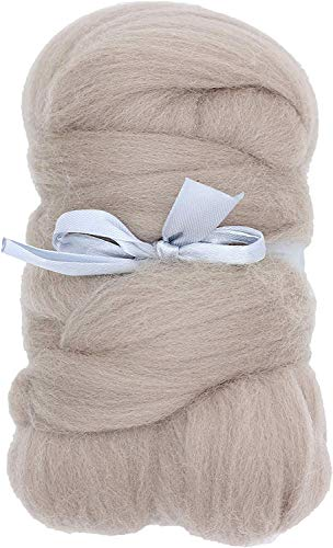 Merino Wool Roving Top - 21um Needle Felting DIY Craft Materials (-3.5OZ) (Tan)