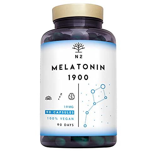 Melatonina 1,9 mg con 5-HTP, Vitamina B6, Griffonia. Natural y Vegano. Alta Dosis. Ayuda con el insomnio, trastornos del sueño. Pastillas para dormir, Ansiedad. 90 Capsulas N2 Natural Nutrition