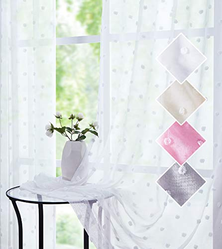 White Sheer Curtains for Bedroom Living Room Pom Pom Dot Light Filtering Window Drapes 96 Inch Length Rod Pocket Shabby Chic Short Boho Curtain Sets for Nursery Kitchen Therapy Room Decor 54 2pcs