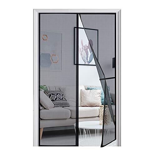 [Upgraded Version] Magnetic Screen Door 50'x81', Homitt Durable Fiberglass Mesh Curtain, Magnet Patio Door with Full Frame Hook & Loop, Auto Closer Fits Door Size up to 48'x80' Max- Black