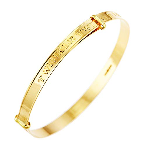 9ct Real Gold Baby Bangle Expanding Children Christening Twinkle Bracelet 2.5 gm (Box Type 4)