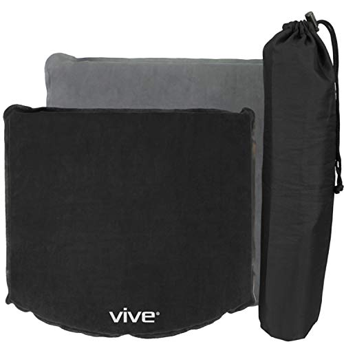 Vive Stadium Seat Cushion - Inflatable Bleacher Pad for Office Chair, Wheelchairs, Coccyx, Tailbone, Sciatica, Cars,  Airplanes, Boats - Travel Easy with Self Inflate or Deflate for Transport