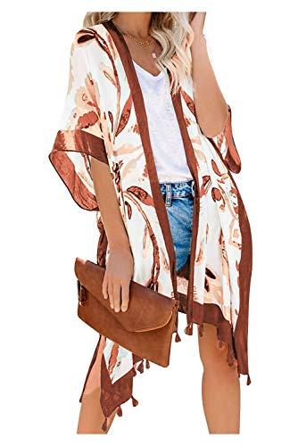 Cardigan Estivo Donna Maniche 3/4 Kimono Floreale Giacca Coprispalle Bolero Cotone Blazer Etnico Coprispalle Boho Chic Costume da Bagno Copricostumi e Parei Caftano Kaftano Bikini Cover Up Beachwear