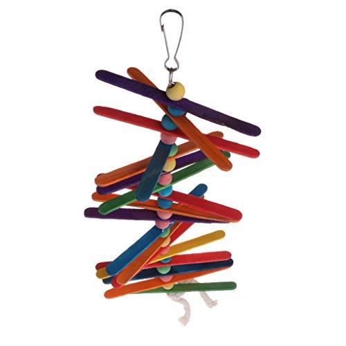 Senoow Popsicle Sticks Oiseau Jouet pour Pet Perroquet Couleur Bois Puce Morsure Jouets En Bois Popsicle Perles Oiseau Swing Rainbow Cage Suspendue pour Animaux Drôle