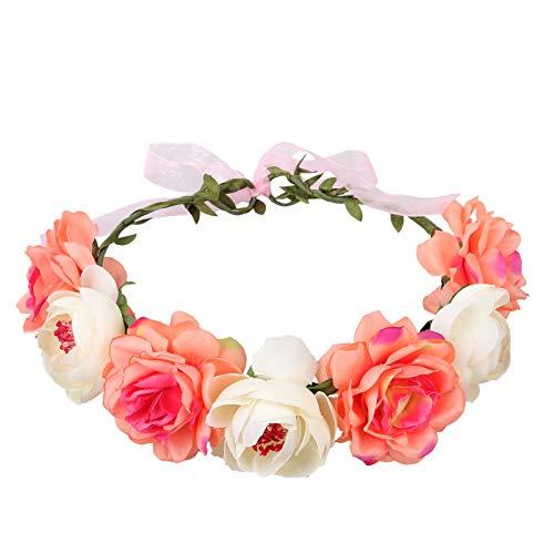 NUWIND Corona de flores de rosa ajustable para mujeres y niñas diadema romántica para el pelo, guirnalda floral de halo para bodas fiestas de cumpleaños maternidad sesión de fotos (rojo blanco