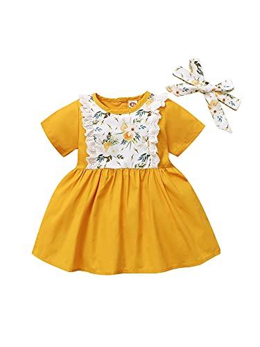 Falda larga con estampado de flores y encaje y estampado de flores y pajarita para bebé