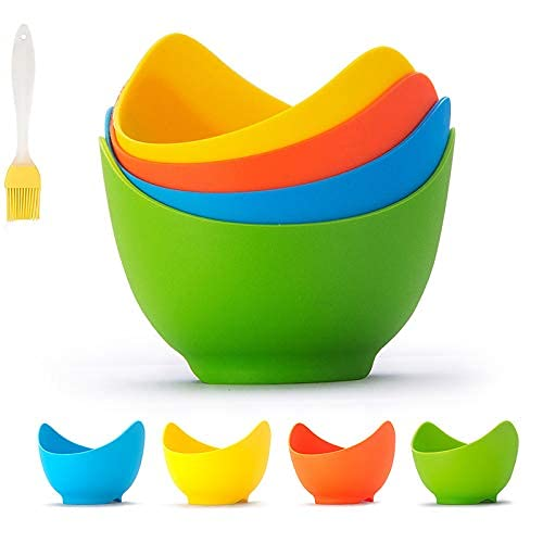 Escalfador de huevos, tazas de caza de huevos de silicona, tazas de huevos escalfados antiadherentes con soportes de anillo, para microondas o estufa huevo