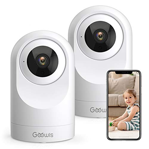 WiFi Camera Indoor, Goowls 1080P HD Security Camera Smart Baby Home Wired IP Camera for Pet/Dog/Nanny Monitor Pan/Tilt Night Vision Motion Detection 2-Way Audio Compatible with Alexa 2 Pack