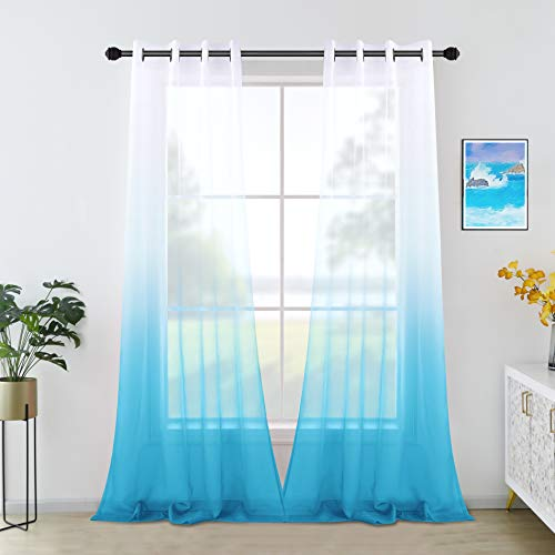 95 Inch Sheer Curtains for Long for Bedroom Set of 2 Panels Grommet Ombre Printed Pattern Beachy Ocean Curtains for Living Room Sky Blue 52x95 Long