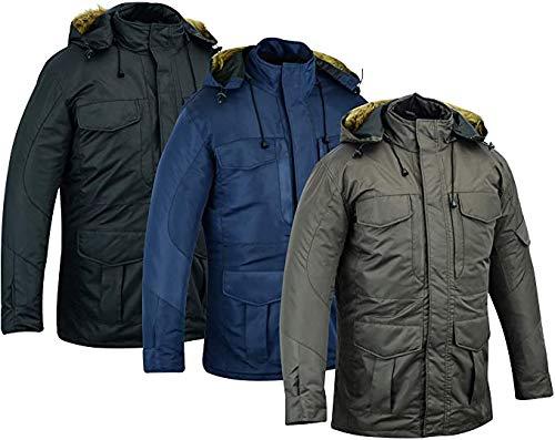 Warrior Gears® - Parka para hombre, impermeable, con capucha, acolchado de poliéster, abrigo de invierno