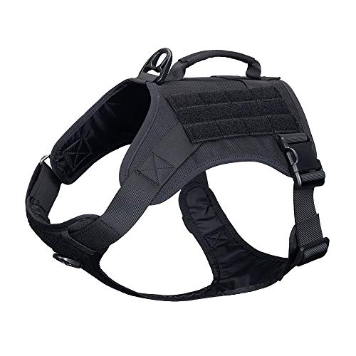 EXCELLENT ELITE SPANKER Tactical Dog Harness Vest with Handle Military Dog Harness Adjustable Training Harness No Pull Dog Harness for Small Medium Large Dogs(Black-M)
