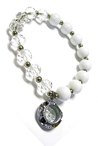 Linpeng PUP-31-4 Woman Bracelet/Crystal Spinner Lucky Charm/Birthstone Color/April-Diamond, White
