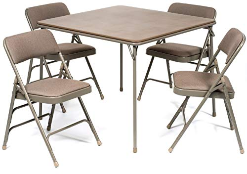 XL Series Folding Card Table and Fabric Padded Chair Set (5pc) - Comfortable Padded Upholstery -...