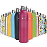 ANSIO Botella de Agua, Frasco de vacío y Botella de Agua de Acero Inoxidable Botella de Bebidas con Aislamiento Doble Pared Botella de Agua Caliente y fría sin BPA al Aire Libre - 750ML -Muy cereza