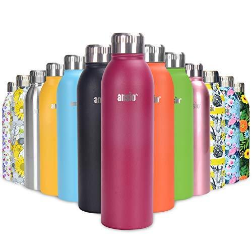 ANSIO Botella Agua Acero Inoxidable, Termo con Islamiento de Vacío de Doble Pared Libre BPA Caliente y fría Reutilizable Botella Agua para Niños, Colegio, Sport, Bicicleta - 500ML -Muy cereza