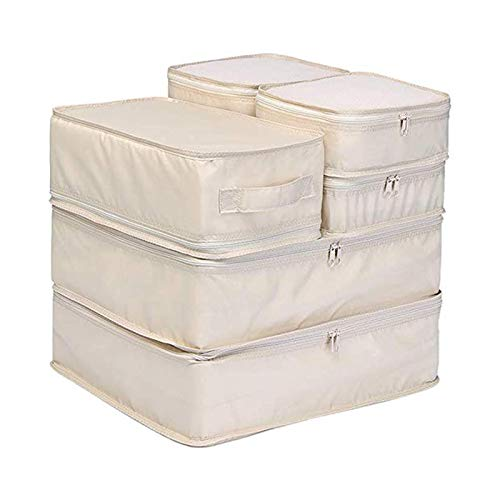 YuuHeeER Bolsa de almacenamiento de la habitación, bolsa de viaje, bolsa de almacenamiento, cubos de embalaje, organizadores de equipaje de viaje, color beige, 6 unidades