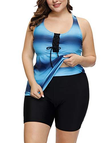 Hanna Nikole Women's Plus Size Swimwear Two Piece Swimsuit Casual with Boyshort Tankini 16W Blue