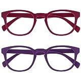 Opulize Pop Pack 2 Retro Redondo Mate Suave Pink Púrpura Hombres Mujeres Gafas De Lectura Bisagras Resorte RR2-45 +3,00