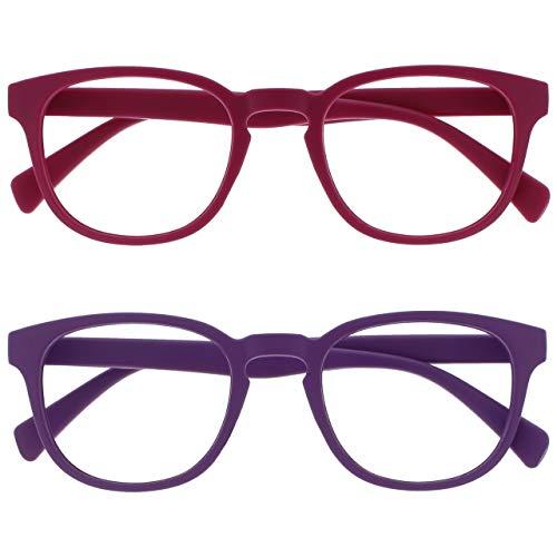 Opulize Pop Pack 2 Retro Redondo Mate Suave Pink Púrpura Hombres Mujeres Gafas De Lectura Bisagras Resorte RR2-45 +1,00