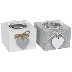Set of 2 Grey Provence Single Tealight Holders