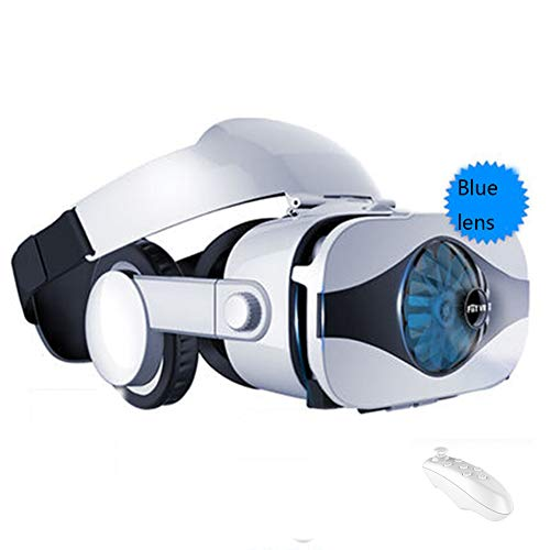 YANJINGYJ Gafas VR Gafas Realidad Virtual Gafas 3D, Montado en la Cabeza Integración Audiovisual Conveniente para 4.0-6.3 Pulgadas iPhone/Android/Huawei/Xiaomi teléfono móvil,White,Package3