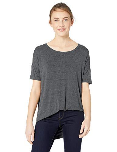 Amazon Brand - Daily Ritual Women's Jersey Rib Trim Drop-Shoulder Short-Sleeve Scoop-Neck Tunic Shirt, Charcoal Heather, X-Large