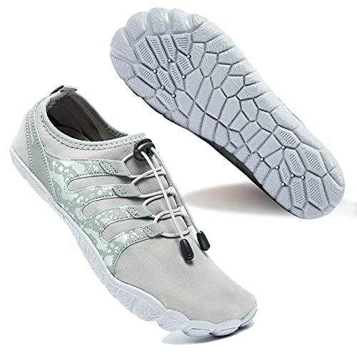 Zapatos de Agua para Hombre Transpirable Secado Rápido de Surf Escarpines Antideslizantes Calzado de Deportes Acuáticos Buceo, Gris, 40 EU