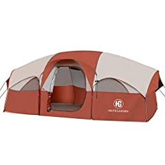 【Roomy for 8 People or 9-Person Family】 HIKERGARDEN tent is the perfect family tent you've ever seen. With the dimension of 14 x 9 x 6(H) ft. 3 queen air mattresses or 8 sleeping bags are well fit in the tent. Ideal for family car camping or camping ...