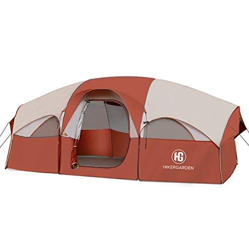 HIKERGARDEN Tent-8-Person-Camping-Tents, Waterproof Windproof Family Tent, 5 Large Mesh Windows, Double Layer, Divided Curtain for Separated Room, Portable with Carry Bag, for All Seasons (Red)