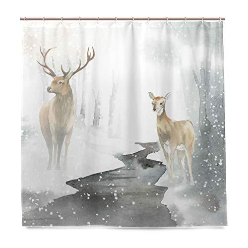 Josid Winter Scene Aquarell REH Duschvorhang Polyester Stoff Deko Bad Vorhang Home Decor mit 12 Haken 72x72 Multi