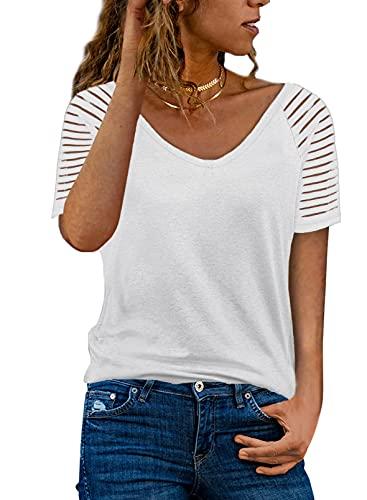 Dokotoo Mujer Camiseta de Manga Larga Elegante Blusas Primavera Otoño Básico Cuello en V Camisa Jersey Tops S-XXL