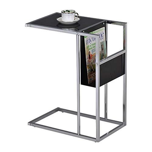 Pilastra diseños–impreso con cristal y cromo mesa auxiliar con revistero (negro)
