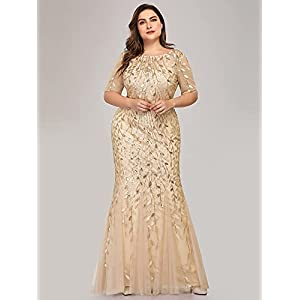Women's Illusion Embroidery Prom Formal Dress Mermaid Maxi Dress Plus Size Gold US14