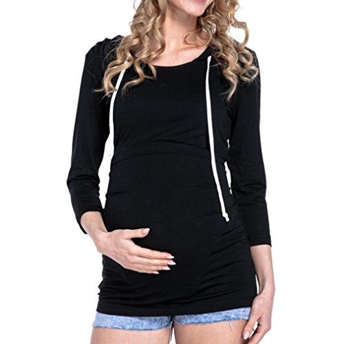 Women Blouse JJLOVER Maternity Nursing Tops Long Sleeve Clothing for Pregnant Hooded Blouse (Black, M)