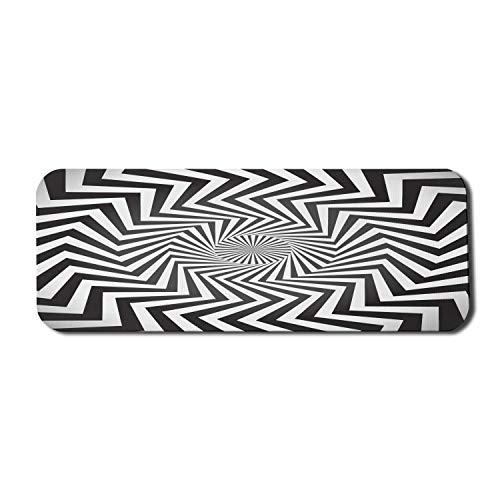 Optische Täuschung Computer-Mauspad, Angular Spiral Whirlpool Hypnotism Rotierte Strahlen Abstraktes Motiv, Rechteck rutschfestes Gummi-Mauspad Großes weißes Anthrazit