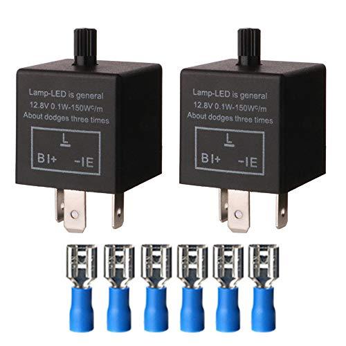 Gebildet 2 pezzi 12V 3Pin Regolabile Lampeggiante Relè, Relè Luce LED Indicatori di Direzione, Segnali Elettronico Lampeggiatore Relè 0.1W-150W per Veicolo Auto Moto, CF-13KT