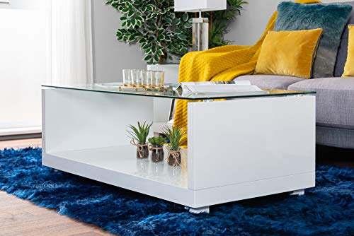 Furniturebox UK Sandro Modern High Gloss And Clear Glass Stylish Coffee Side Hall End Console Table Living Room Set (Coffee Table Only)
