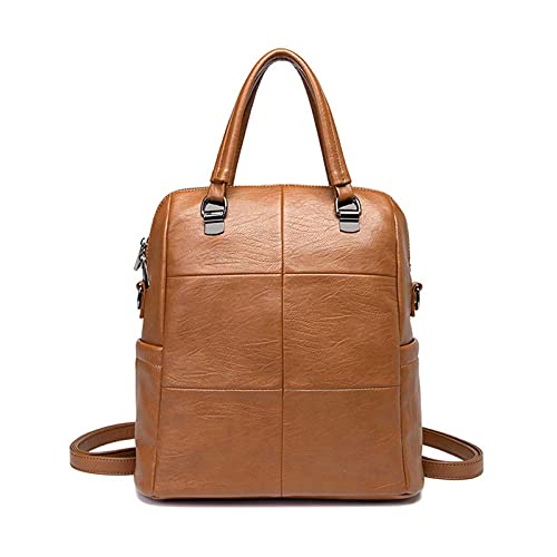 DJH Women Genuine Leather Laptop Backpack Anti-Theft Daypack Shoulder Bags for Travel/Business/College/Women/Men-Black,Black