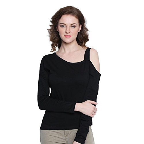 a4ce935b48d9ab The Dry State Women s Cotton Black One Sided Cold Shoulder Top ...