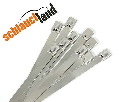 Schlauchland 50x Kabelbinder Edelstahl 4,6 x 200 mm *** 20cm *** Große Auswahl 4,6/7,9/12mm 10-150cm 1/10/20/50/100er Packs