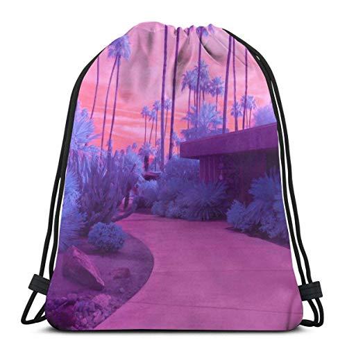 AOOEDM Mochila con cordón California Sunset Palm Tree Canvas Bulk Sackpack para hombres Mujeres String Sports Gym Bag