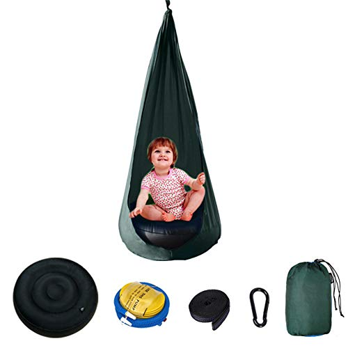 ROCK1ON Children's Bag Swings Kids Pod Swing Chair Sleeping Bag Hammock Seat Indoor Outdoor Playground Inflatable Cushion Chair,Army Green