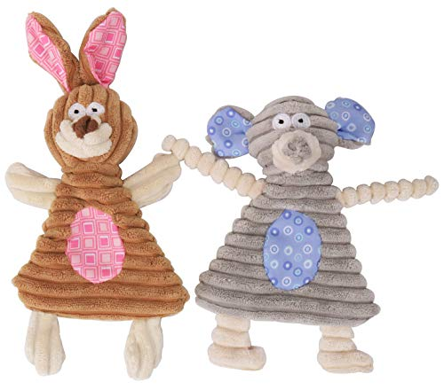 No Stuffing Dog Toys with Squeaker, Comtim Durable Dog chew Toys No Stuffing Squeaky Dog Toys for Small Dogs and Puppies, Rabbit & Elephant