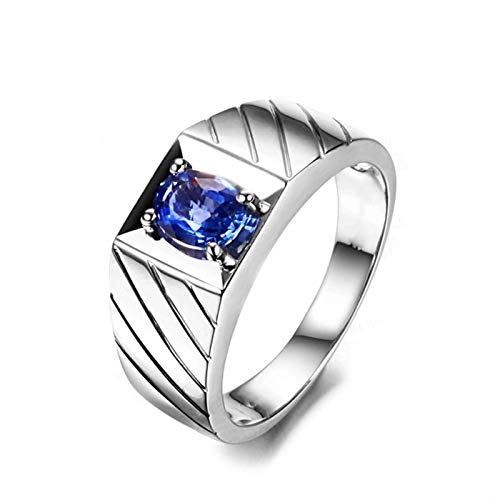 AueDsa Wedding Bands for Women 925,Sapphire Ring 925 Oval 6X8MM Blue Sapphire Ring Size L 1/2